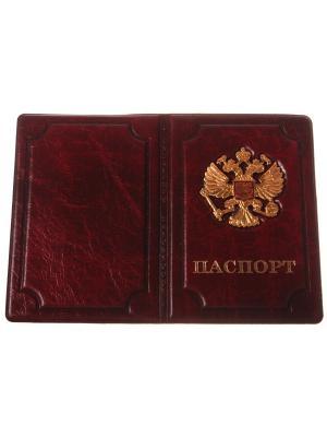 Обложка на паспорт с металлическим гербом, бардовый Радужки. Цвет: бордовый
