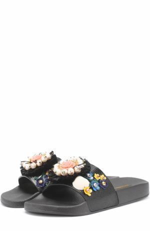 Текстильные шлепанцы с цветочной аппликацией Dolce & Gabbana. Цвет: черный