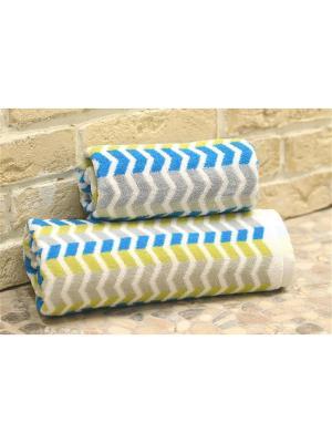 Набор махровых полотенец РУНЫ голубой (50*90+70*140) TOALLA. Цвет: голубой