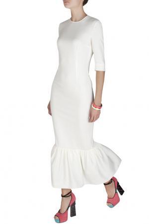 Платье из вискозы Alessandra Rich. Цвет: белый