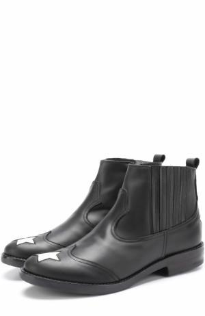 Кожаные ботинки с аппликациями Simonetta. Цвет: черный