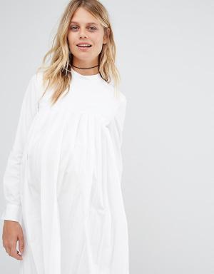 ASOS Maternity Плиссированное хлопковое платье для беременных с длинными рукавами ASO. Цвет: белый