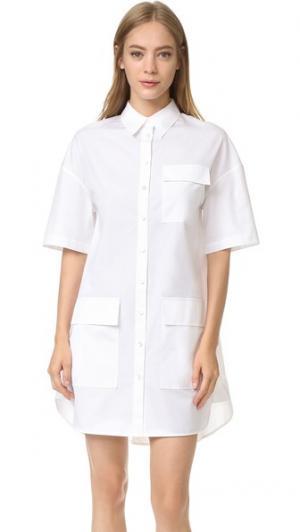 Свободное платье-рубашка из рубашечной ткани Grey Jason Wu. Цвет: белая основа