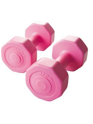 Гантели виниловые 1 кг х 2 шт Atemi, AD-02-2 Atemi. Цвет: розовый