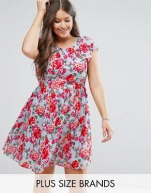 Koko Короткое приталенное платье с рукавами-оборками и цветочным принтом Ko. Цвет: синий
