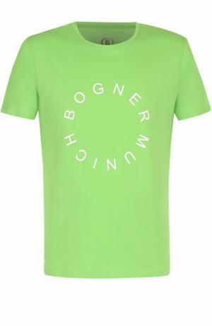 Хлопковая футболка с логотипом бренда Bogner. Цвет: салатовый