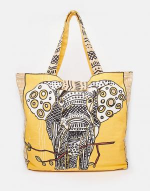 Echo Пляжная сумка-тоут со слоном. Цвет: хаки