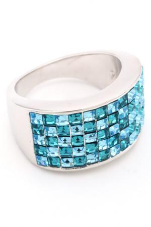 Кольцо Миниквадраты, 5рядное Crocus-Elite. Цвет: голубой