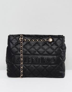 Valentino by Mario Черная стеганая сумка на плечо. Цвет: черный
