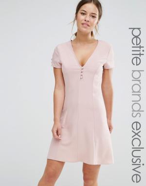 Alter Petite Короткое приталенное платье на пуговицах с короткими рукавами Pe. Цвет: розовый