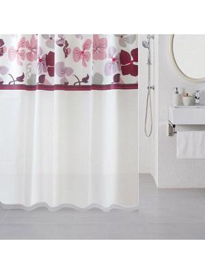 Штора для ванной Milardo. Цвет: белый, бордовый