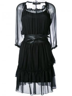 Прозрачное платье с поясом Federica Tosi. Цвет: чёрный