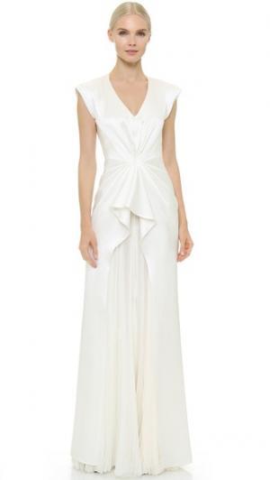 Вечернее платье Monika без рукавов с V-образным вырезом J. Mendel. Цвет: золотой