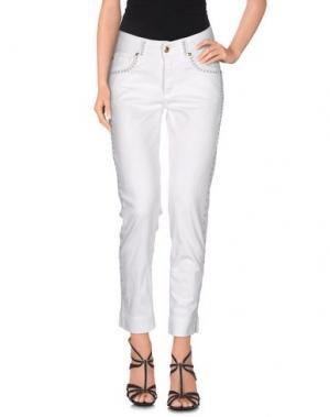 Джинсовые брюки ANGELO MARANI. Цвет: слоновая кость