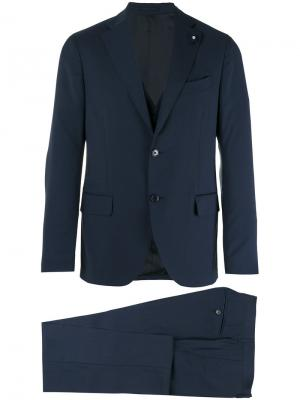 Классический костюм-двойка Lardini. Цвет: синий