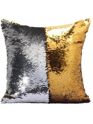 Подушка с пайетками  декоративная GOOD MOOD, коллекция Magic Shine MOOD. Цвет: серебристый, золотистый