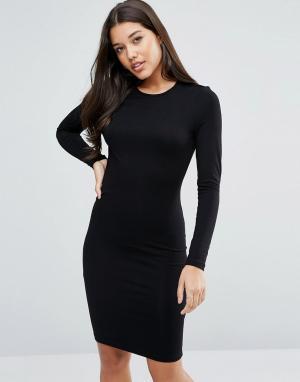 ASOS Облегающее платье миди с длинными рукавами. Цвет: черный
