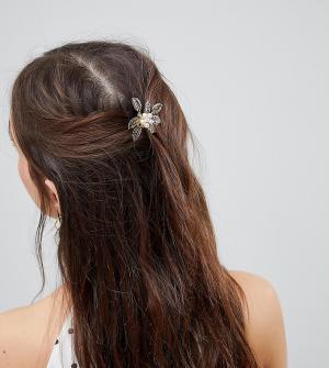 ASOS Набор из 2 золотистых гребешков для волос с искусственным жемчугом ASO. Цвет: золотой