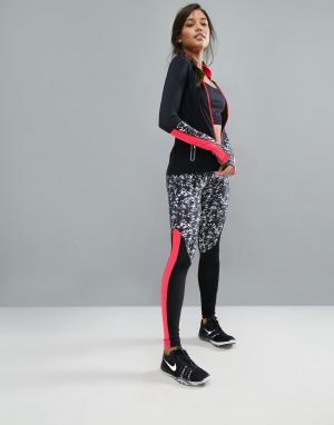 Elle Sport Спортивные леггинсы с ярким принтом. Цвет: черный