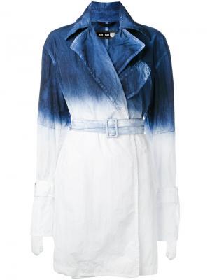 Пальто с градиентным эффектом Ahirain. Цвет: синий