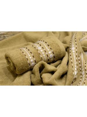 Набор махровых полотенец ВОЛНА песочный (50*90+70*140) TOALLA. Цвет: светло-коричневый