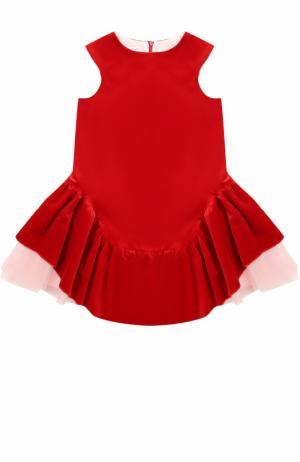 Хлопковое мини-платье с ассиметричной юбкой и многослойной подкладкой I Pinco Pallino. Цвет: красный