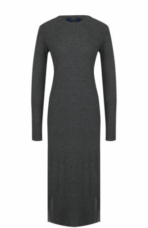 Шерстяное платье-миди с длинным рукавом Polo Ralph Lauren. Цвет: серый