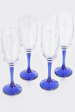 Набор бокалов, 4 шт Pasabahce. Цвет: синий