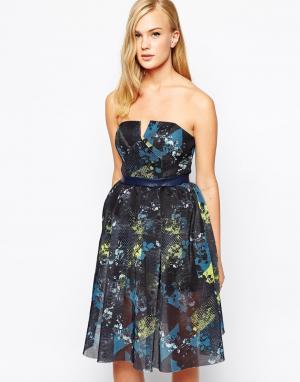 Three Floor Платье без бретелек из сетки с принтом In Motion. Цвет: мульти