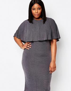 Club L Блестящее платье миди с кейпом Plus. Цвет: кремовый