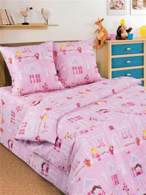 Детский комплект постельного, 1,5-спальный, наволочка 70*70, хлопок Letto. Цвет: розовый