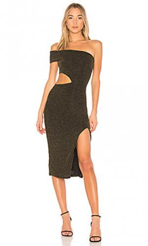 Платье со спущенными плечами arlo NBD. Цвет: черный
