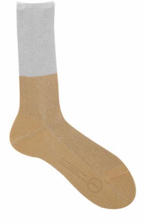 Хлопковые носки с металлизированной отделкой Antipast. Цвет: золотой