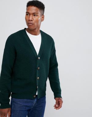 ASOS Зеленый кардиган в рубчик с заниженной линией плеч DESIGN. Цвет: зеленый