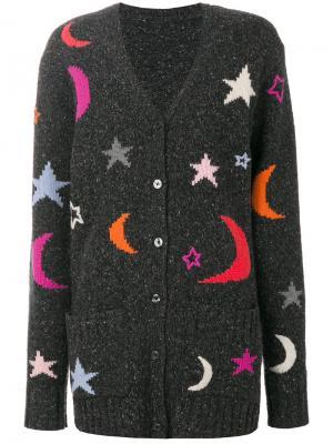 Вязаный кардиган с вышивкой Chinti & Parker. Цвет: серый