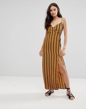 Influence Платье макси в полоску. Цвет: желтый