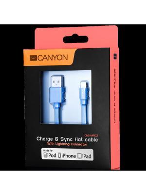 Ультра - плоский кабель MFI (сертифицированный компанией Apple) CANYON CNS-MFIC2BL. Цвет: синий
