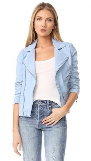 Винтажная байкерская куртка June. Цвет: светло-голубой