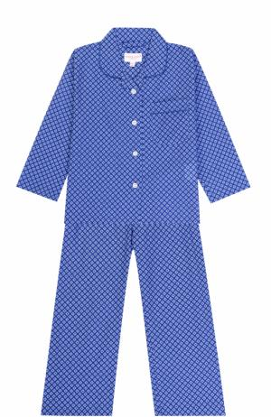 Хлопковая пижама с принтом Derek Rose. Цвет: голубой