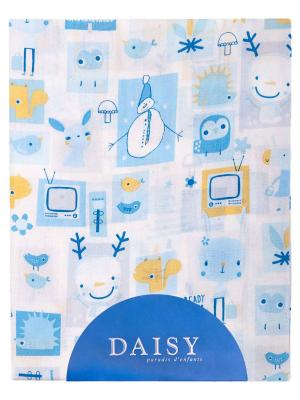 Пеленка Хлопок 90х150 см Мультяшки гол DAISY. Цвет: бирюзовый, серо-голубой, светло-оранжевый, белый