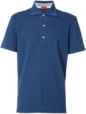 Классическая рубашка-поло Isaia. Цвет: синий