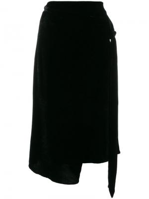 Асимметричная юбка с запахом Federica Tosi. Цвет: чёрный