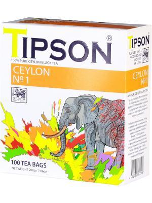 Чай черный цейлонский Ceylon №1 OPA, 100 пак*2 г. Tipson. Цвет: черный