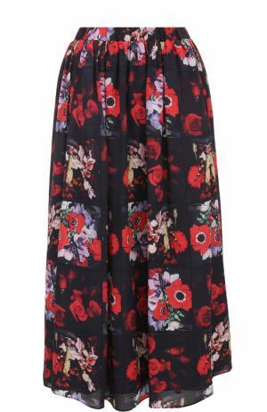 Шелковая юбка-миди с цветочным принтом Kenzo. Цвет: красный