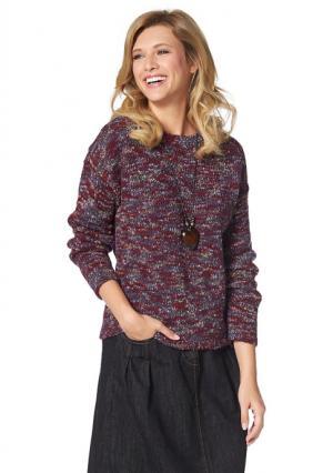 Пуловер CHEER. Цвет: красный/лиловый/телесный/светло-синий меланжевый