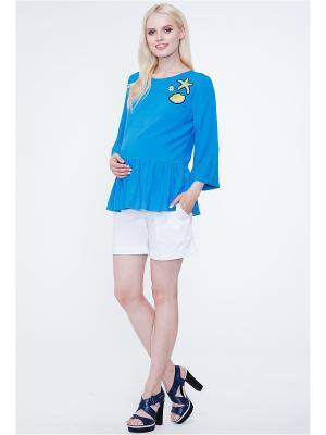 Блузка TUTTA MAMA. Цвет: бирюзовый