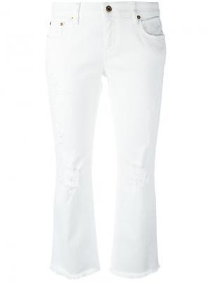 Укороченные джинсы рваные Roberto Cavalli. Цвет: белый