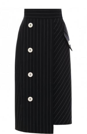 Шерстяная юбка-миди асимметричного кроя Dorothee Schumacher. Цвет: темно-синий