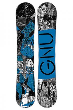 Сноуборд  Crbn Crdt Btx Blue Ast GNU. Цвет: черный,белый,синий