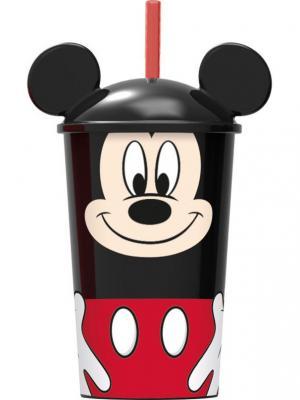 Стакан пластиковый с соломинкой и крышкой (400 мл). Микки Маус Stor. Цвет: черный